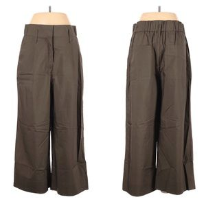Whistles Wide Leg Pleated Trouser Pant Olive Green